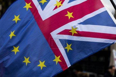 Foto de Bandera que combina Unión Europea y Union Jack del Reino Unido en apoyo de permanecer en Europa - Imagen libre de derechos