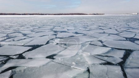 Photo for Global warnimg concept. Cracked ice on the surface of the ocean. - Royalty Free Image