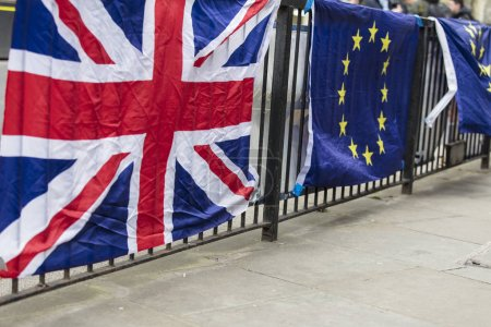 Union Jack and European union flags side by side. Brexit concept