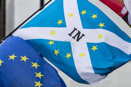 Scottish and European Union flags together. A symbol of the Brexit EU referendum