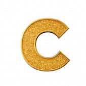Gold glitter letter C. Shiny sparkling golden capital letter. 3D rendering