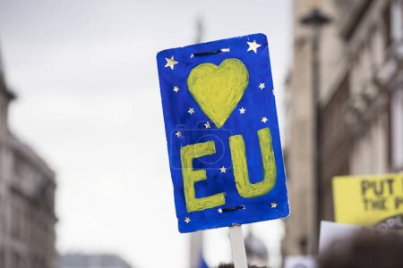 Love European Union placard at an anti brexit protest in London