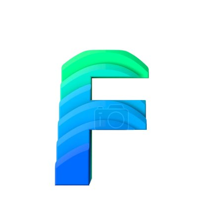 Letter F. Layered wave effect character type. 3D Rendering