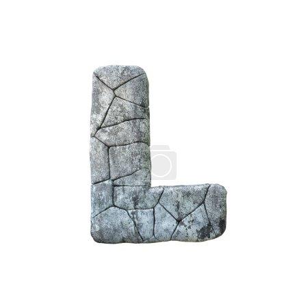 Photo pour Lettre L police de pierre grunge fissurée rendu 3D - image libre de droit