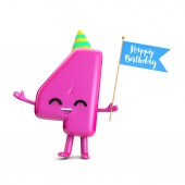 Happy 4th Birthday cute party character with hat and flag 3D Re