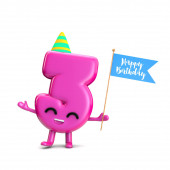 Happy 3rd Birthday cute party character with hat and flag 3D Re
