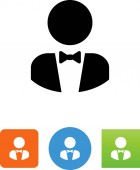 Person with bow tie and tuxedo vector icon