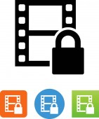 Movie with DRM protection vector icon