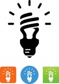 Compact fluorescent light bulb vector icon