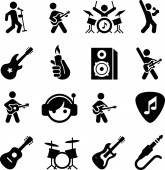 Rock music vector icons