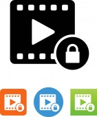Video with DRM protection icon