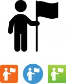 Person holding a flag vector icon