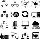 Computer networks and information exchange vector icons
