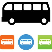 Bus side view vector icon