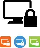Desktop computer with a lock vector icon