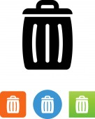 Full trash can with lid vector icon