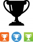 Trophy award vector icon