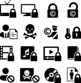 Digital Rights Management / DRM and copyright protection vector icons