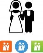 Wedding bride and groom vector icon