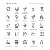 Drink Icons - Outline vector illustration