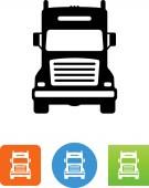 Semi truck front view vector icon