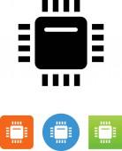 Computer chip vector icon