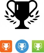 Trophy wrapped in laurel leaves vector icon