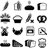 Bakery and bread vector icons