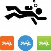 Scuba diving vector icon