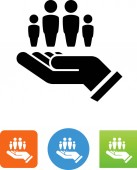 Hand with family vector icon