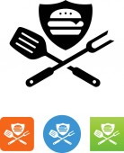 Hamburger on shield with grilling tools vector icon