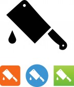 Butcher knife with drop vector icon