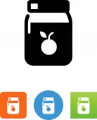 Jar of fruit preserves vector icon