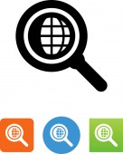 Magnifying glass with a globe vector icon