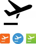 Airplane departing vector icon