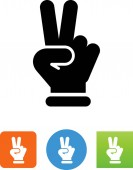 Hand making peace sign vector icon
