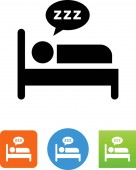 Person in bed sleeping vector icon