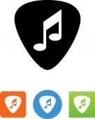 Guitar pick with a musical note vector icon