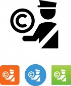 Security guard with copyright vector icon