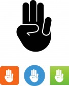 Hand showing number three vector icon