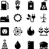 Fuel gas and other forms of energy vector icons