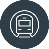 Subway Tunnel Train Outline Icon