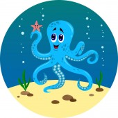 the underwater world of the octopus and fish vector