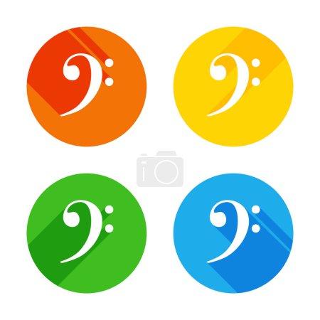 Illustration pour Icône de la clé de fa. Icône plate blanche sur fond de cercles colorés. Quatre longues ombres différentes dans chaque coins - image libre de droit