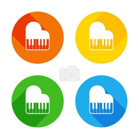 Illustration pour Icône de piano à queue. Icône plate blanche sur fond de cercles colorés. Quatre longues ombres différentes dans chaque coins - image libre de droit