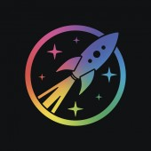 rocket launch with stars in circle icon Rainbow color and dark background