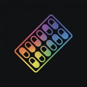 Pack Pills Icon Rainbow color and dark background