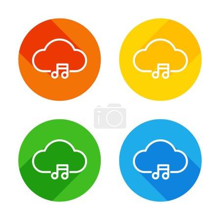 Illustration pour Bibliothèque de musique de nuage, striming. Icône linéaire simple avec contour mince. Icône plate blanche sur fond de cercles colorés. Quatre longues ombres différentes dans chaque coins - image libre de droit