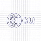 domain European identity globe and eu Hand drawn picture on paper sheet Blue ink outline sketch style Doodle on checkered background