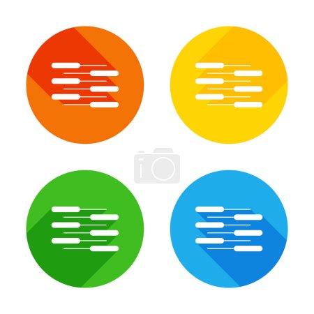 Illustration pour Icône de clavier de piano double. Duo. Concurrence, affichage Vertical. Icône plate blanche sur fond de cercles colorés. Quatre longues ombres différentes dans chaque coins - image libre de droit